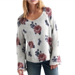 Lucky Brand Gray Floral Sweater